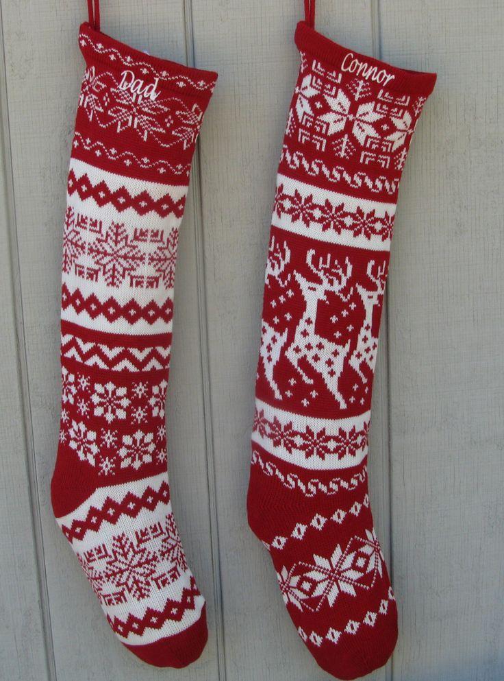 Personalized Christmas Stocking Free Knitting Pattern. Knitted Christmas Stockings