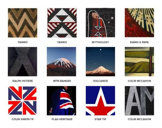 MADE FROM NEW ZEALAND Red Peak was designed to reflect distinctly powerful and fundamental visual elements from New Zealand culture. The challenge was to break down multicultural elements into the most simple shared forms.  The flag design uses a primary shape of triangle/chevron which is drawn from Taniko weaving patterns. The shapes and colour positioning suggest a landscape of alpine ranges, red earth, and black sky, which refers to the Maori mythology of Rangi & Papa.