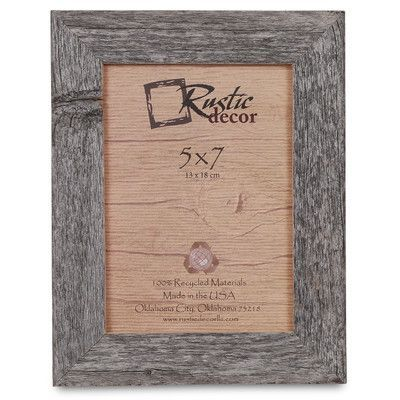 """RusticDecor Barn Wood Reclaimed Wood Standard Picture Frame Size: 7"""" H x 5"""" W x 1"""" D"""