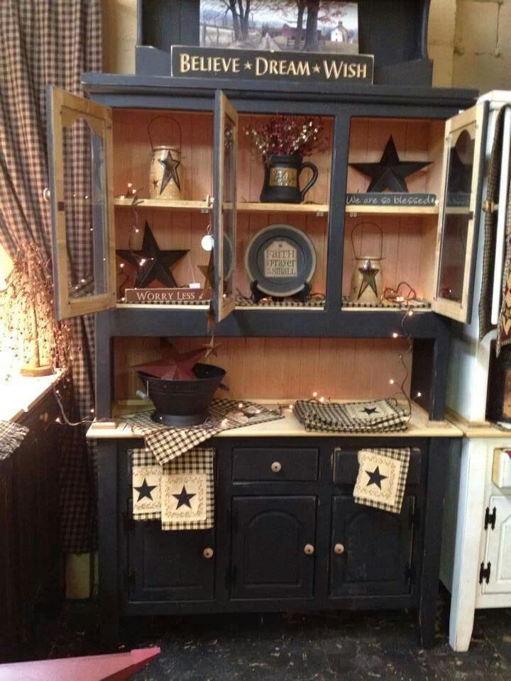 I got hutch on kijiji cheap cheap going to paint it to look like this,add all my PRIM stuff I have been making.My hutch is the exact same.(Check junk stores,yard sales,you can get these cheap paint and decorate if you dont mind a little work it's worth it.)