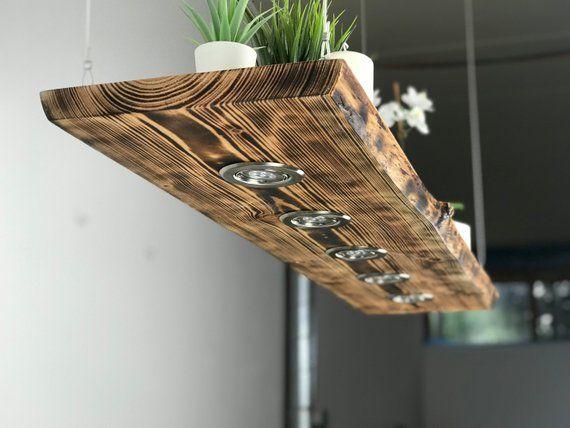 Blockholz Schmiede Deckenlampe Holz Geflammt Fur Die Kuche Etsy Hanging Lamp Wood Ceiling Lamp Rustic Lamps