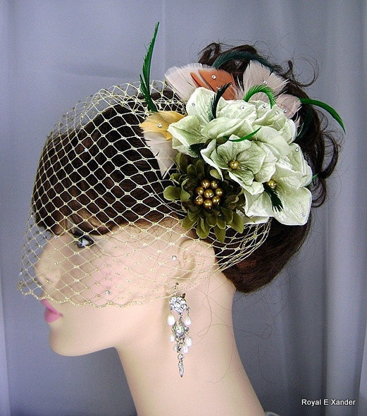 Silk Hydrangea and Feather Fascinator Wedding Prom by RoyalEXander, $40.00