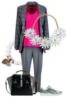 4 sposoby na różowy pulower – zestaw do pracy