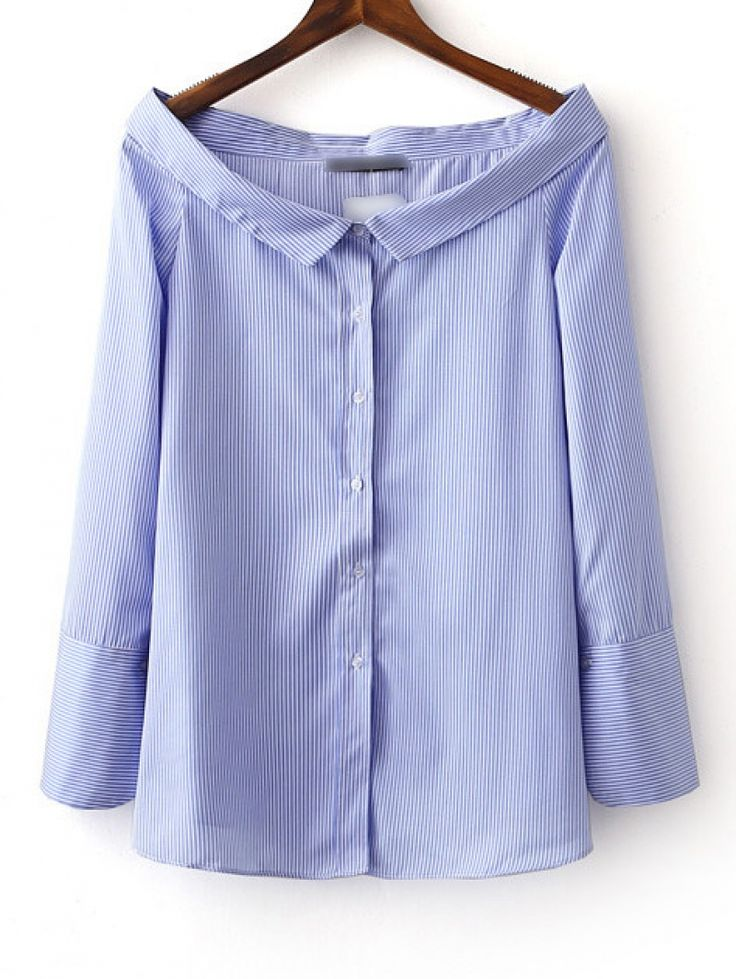 Buy Blue Boat Neck Stripe Buttons Front Blouse from abaday.com, FREE shipping Worldwide - Fashion Clothing, Latest Street Fashion At Abaday.com