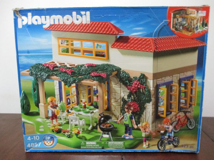 Playmobil 4857 Summer House Nearly Complete Set! With Box & Instructions #PLAYMOBIL