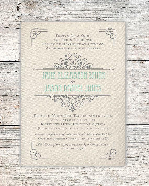 Soft Art Deco Wedding Invitation  Vintage Mint by PrairiePix, $10.00