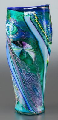Art Glass, A JAMES NOWAK ART GLASS VASE . Late 20th century. Marks: NOWAK,SIHII. 20-1/2 inches high (52.1 cm). ...