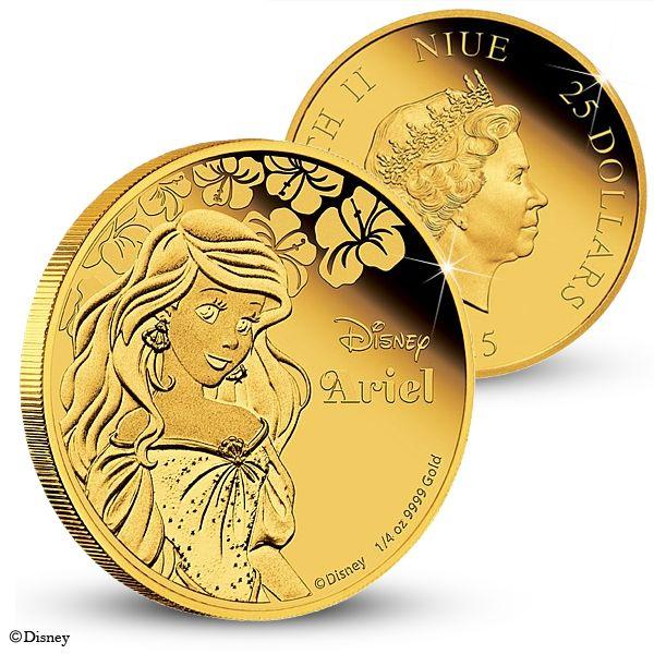 Officiellt Disneymynt med Ariel i 99,9 % guld