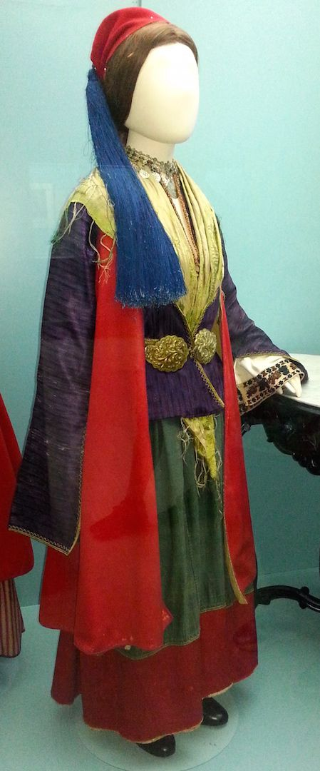 A costume from Tsakonia in the Peloponnese on display at the Peloponnesian Folklore Foundation Museum in Nafplio, Greece.