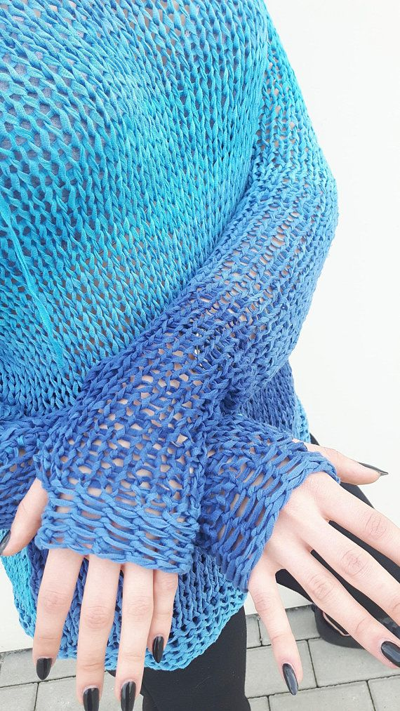 Vegan women's pullover Long sleeve Light blue shades