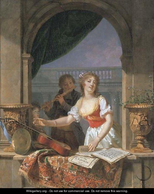 Martin Drölling: Jonge vrouw die haar gitaar pakt met een fluitspelende jongen in een venster. 1797. art dealer P. & D. Colnaghi & Co. Ltd., London. Geïnspireerd door Gerard Dou en Frans van Mieris.