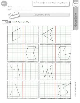 cm2 evaluation la symetrie axiale sans quadrillage figures sym triques maths cycle 3 pinterest. Black Bedroom Furniture Sets. Home Design Ideas