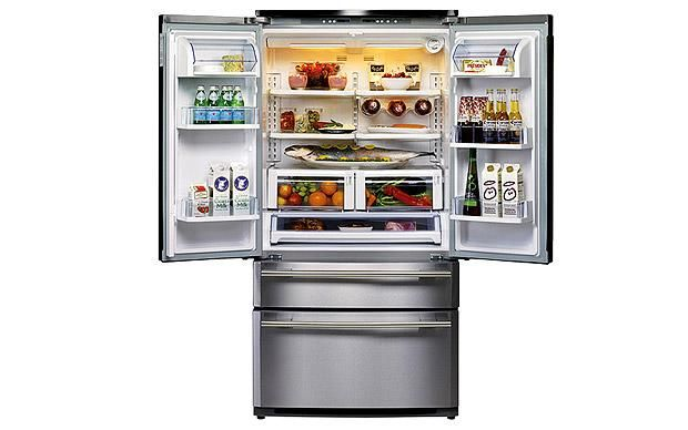 Thanks to the double fridge doors and extra-wide shelves, huge plates can    slide effortlessly inside and all your most-used food is always at eye    level. The top freezer drawer also helps to keep essentials easily    accessible. DxD fridge-freezer, £2,199, (H181.5cm x W90.8cm x D76cm), Rangemaster     For more kitchen    ideas  visit housetohome   Looking for a home    appliances retailer , visit the housetohome directory