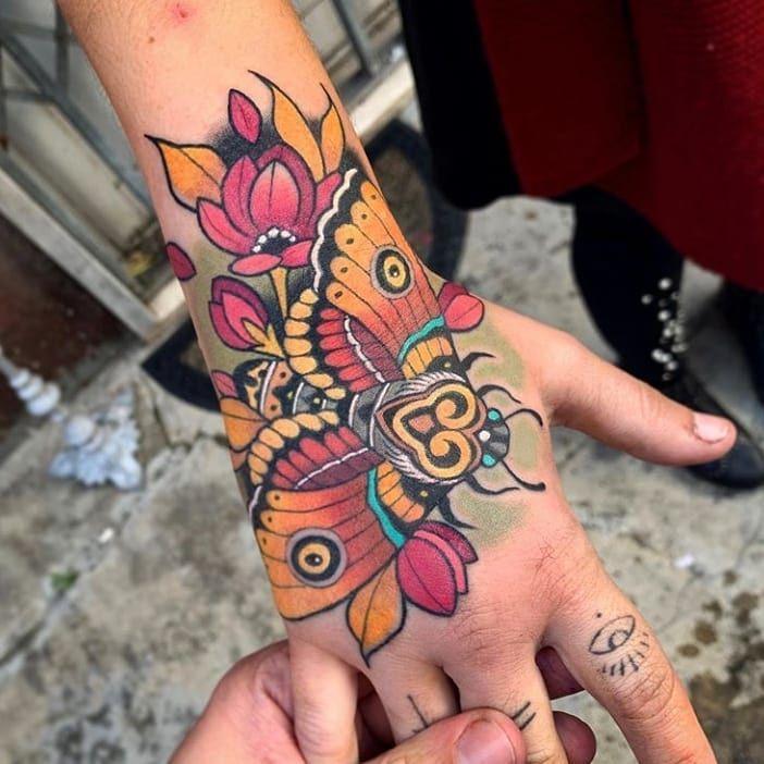 Nice Colors Traditional Hand Tattoo Moth Tattoo Traditional Tattoo Sleeve