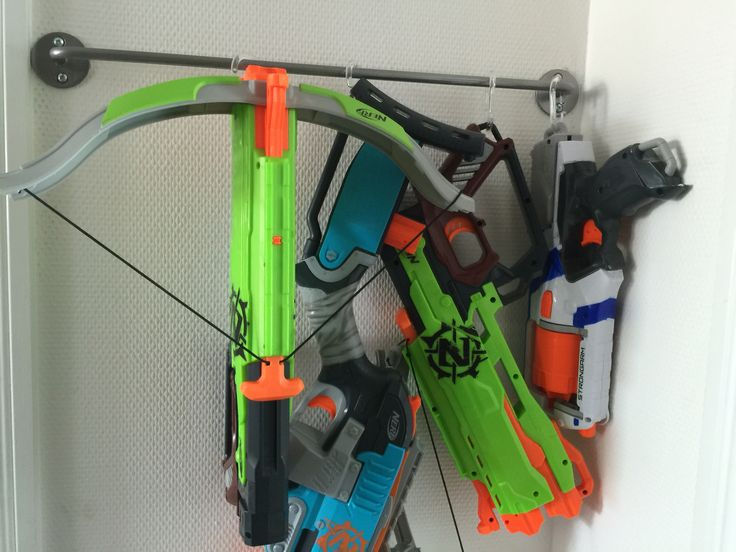 Nerfgun hanger. Cheap IKEA byger and showercurtain hooks
