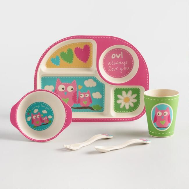 World Market Cute Dish Set For A Girl Toddler That Loves Owls Affiliate Kidfriendly Owl Pink Littlegirl Unique Gifts For Kids Childrens Gifts Pink Owl
