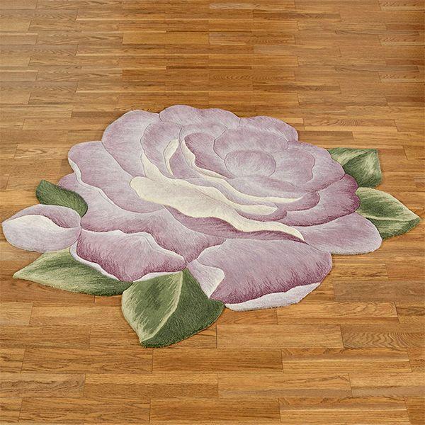 Vintage Bloom Lavender Rose Flower Shaped Rug Lavender Roses Rose Flower Flower Shape