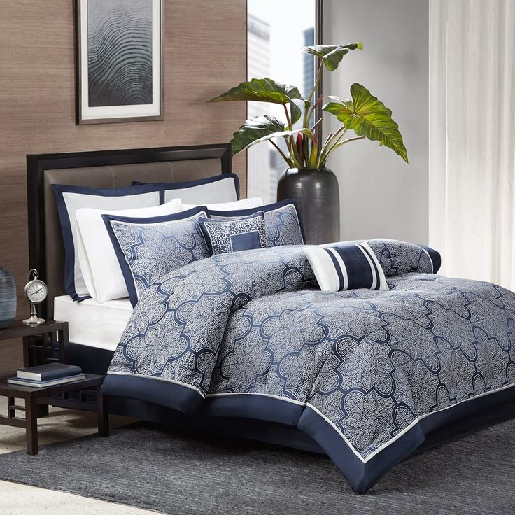 Refresh your master suite or guest room in chic style with this essential comforter set, perfect for enjoying late breakfasts in bed and curling up with your favorite novel.
