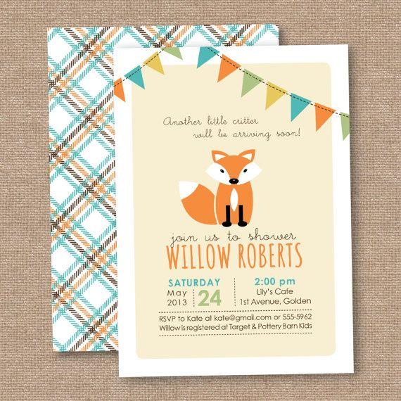 Boy Fox Baby Shower Invitation, Chevron, Orange Aqua Gray, DIY Printable