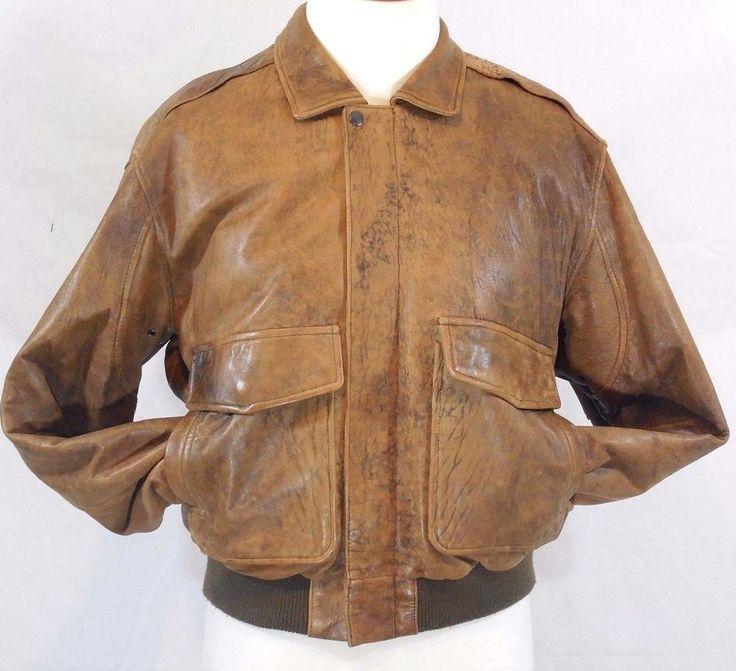 VTG DISTRESSED Brown Leather A-2 BOMBER FLIGHT Jacket J. Walden Mens 44/LARGE L #JWalden #FlightBomber