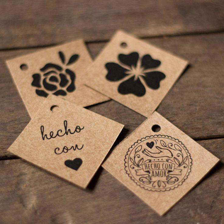 100 etiquetas tags papel kraft madera 4x4cm rombo easy faz