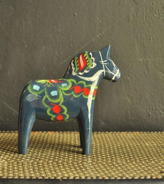 Vintage 60s Dala Horse Olosson Nusnas 6 inch Blue Hand painted Swedish Folk Art. $38.00, via Etsy.