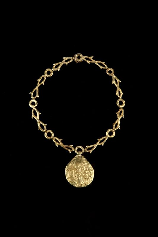 18 carat gold, Afro Basaldella, Mount of Olives locket and chain, Rome, c. 1951