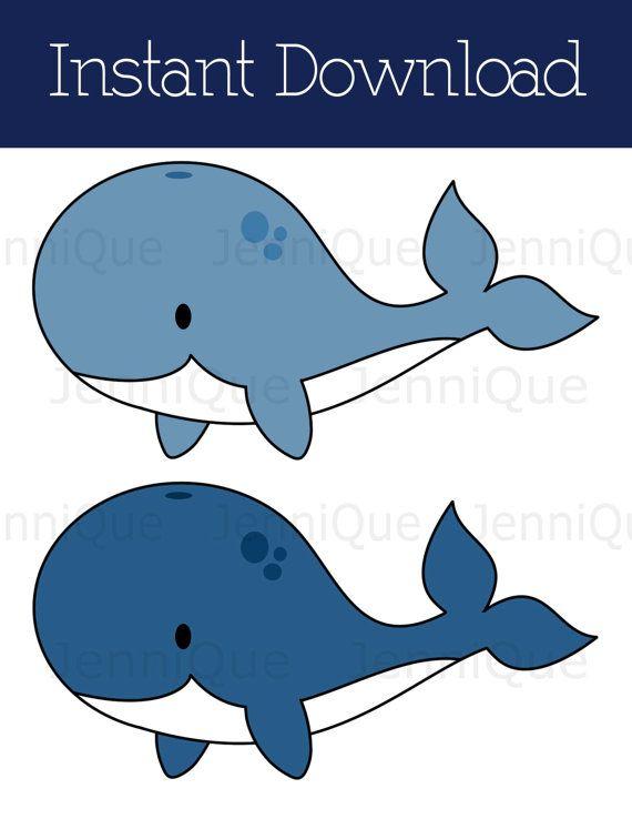 Printable Whale Baby Shower Decoration Print by JenniQuePrintShop