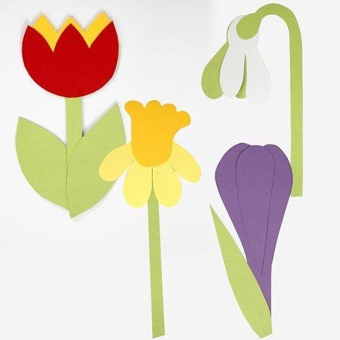 Flori de primavara din carton folosind sablon