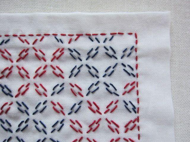 刺し子の布巾(方眼刺し/赤×紺)