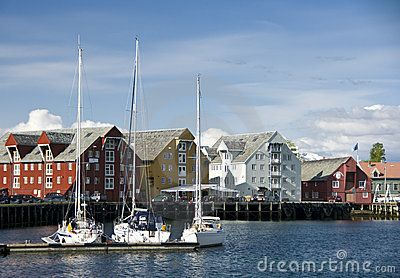 A view of sailboats and the waterfront at Tromso, Norway.