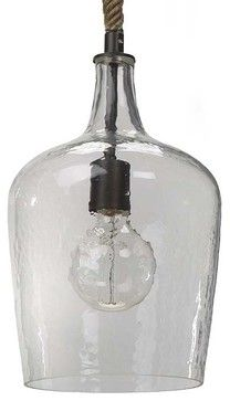 Hammered Glass Transitional Pendent Light - transitional - pendant lighting - Arcadian Home & Lighting