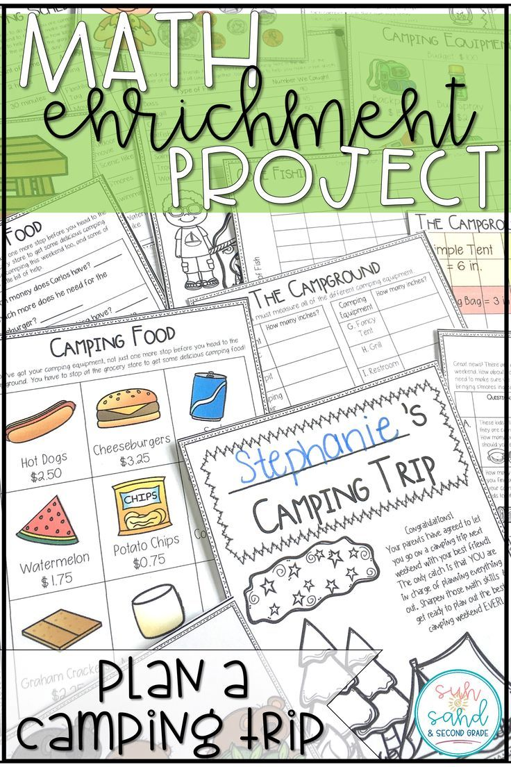 This math project is full of math enrichment activities for your students. They plan a camping trip for them and a friend while spiraling and practicing tons of math skills! Students LOVE these projects and beg to work on them!! This is a perfect project for your students who need some math enrichment, or for an end of the year project.