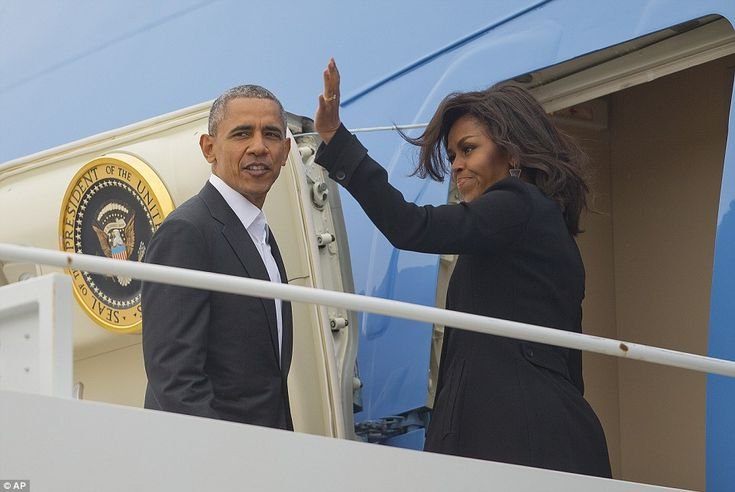 Michelle also waves as they depart for Cuba. The U.S. president will meet with Cuban dict...