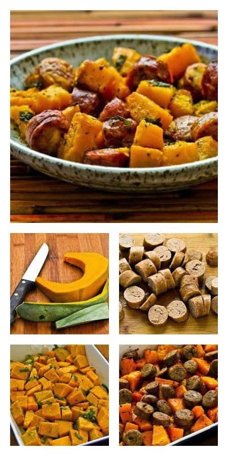 Love this recipe for Roasted Winter Squash and Sausage with Herbs; you can use any type of #WinterSquash to make this. [from KalynsKitchen.com] #EasyDinner #GlutenFree