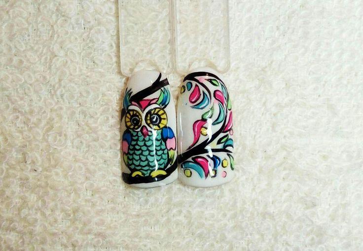 Дизайн ногтей. Сова
