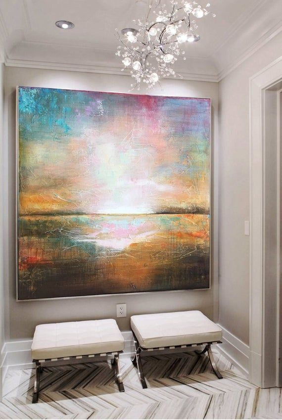 Large Wall Art Abstract Colorful Wall Art Orange Painting Sunset Painting Canvas Painting Acrylic Abstract Ar In 2020 Orange Painting Colorful Wall Art Sunset Painting