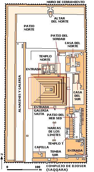 Plano del complejo funerario de Zoser en Saqqara, III Din.