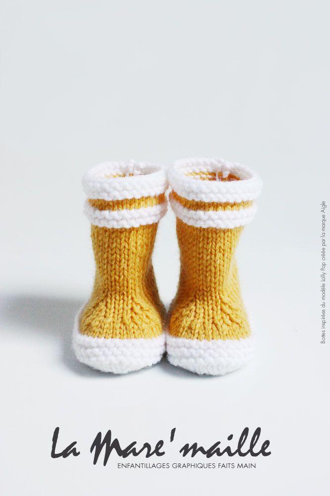 Bottes marin bébé en laine jaune hommage aux bottes Lolly Pop - Aigle : Mode Bébé par la-mare-maille
