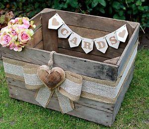 Vintage-Wooden-Wedding-Cards-Post-Box-Bushel-Fruit-Crate-Shabby-Chic-HEART
