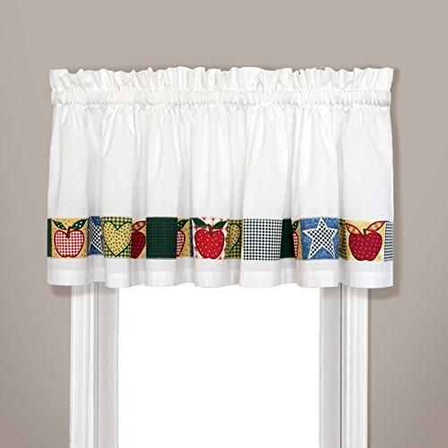 15 Inch White Color Appleton Embroidered Apples Kitchen Valance Red Color Nature Solid Pattern Fruits October Apple Classic Casual Traditional Country