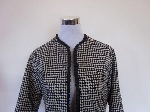 VINTAGE authentic rare 50s retro rockabilly houndstooth jacket by shopblackheart