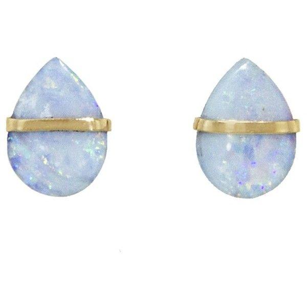 Melissa Joy Manning Opal Stud Earrings - Yellow Gold (6,215 EGP) ❤ liked on Polyvore featuring jewelry, earrings, accessories, blue, gold stud earrings, 14 karat gold stud earrings, long earrings, blue earrings and 14k earrings