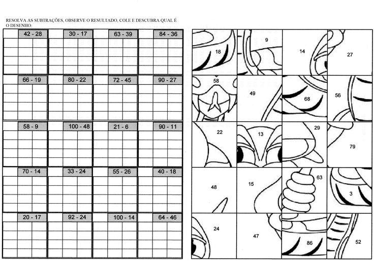 Resolva as subtrações e monte o desenho