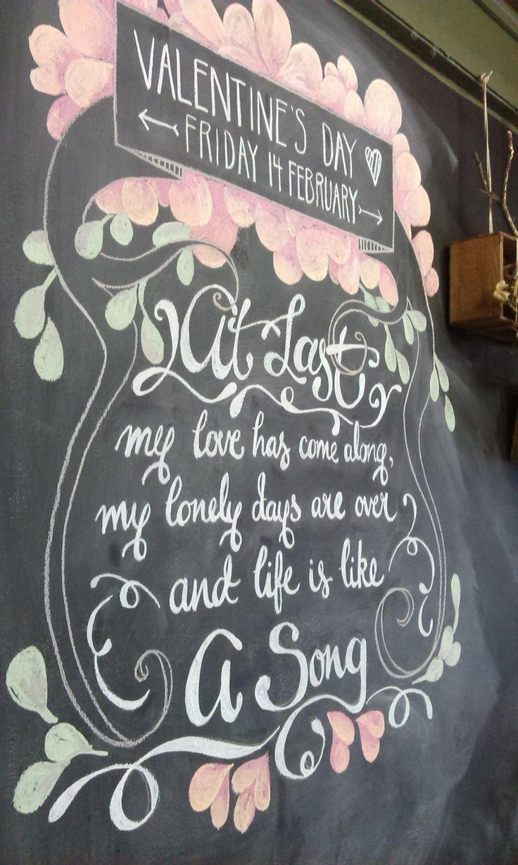 Valentine's Day blackboard art 2014 for Dandelion Floral & Foliage Design.