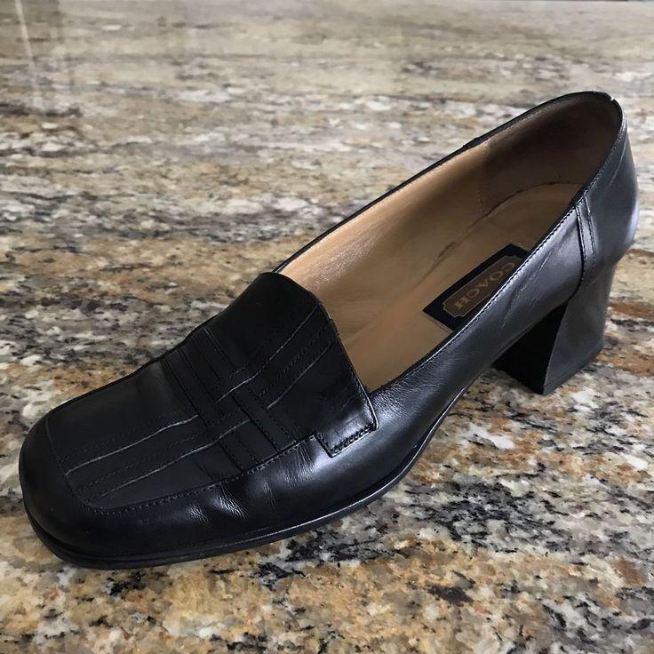 Coach Womens 7.5 B Black Loafer Shoes Square Toe Block Heel Slip On Heels  | eBay