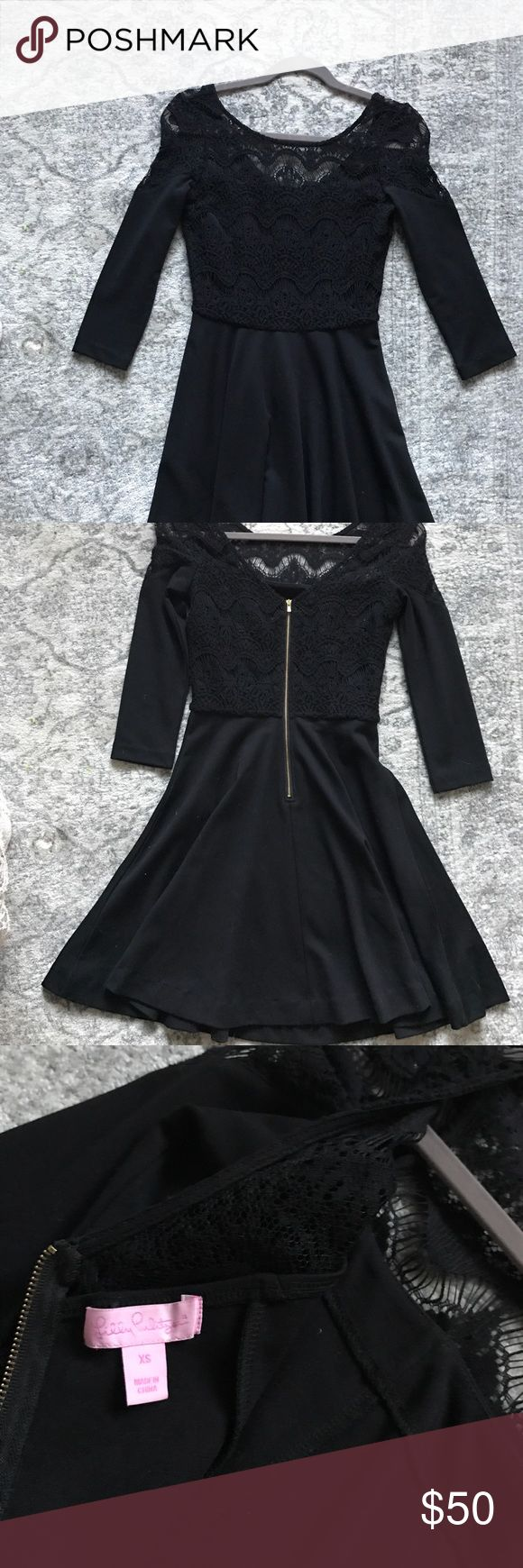 LILLY - Black, crochet cocktail dress Only worn once! Beautiful Lilly Pulitzer cocktail dress, size XS, in perfect condition. Lilly Pulitzer Dresses Midi
