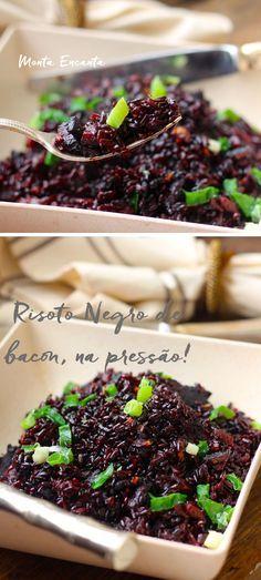 O sabor amendoado deste arroz harmoniza bem com o defumado do bacon, deixando este Risoto de Arroz Negro um acompanhamento irresistível o jantar