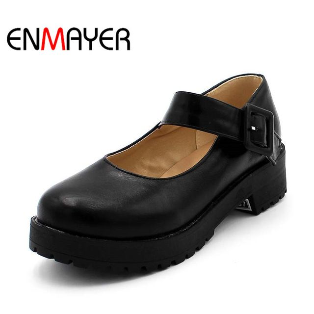Fair price ENMAYER Platform Shoes NEW Hot Arrival Mary Jane Flats Shoes PU Leather Round Toe Casual Platform Shoes Women Ladies Flats Shoes just only $26.99 - 28.16 with free shipping worldwide  #womenshoes Plese click on picture to see our special price for you
