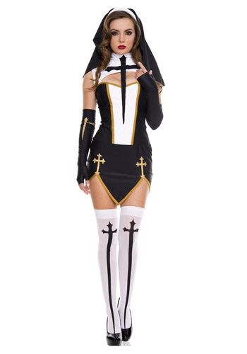 You are definitely getting kicked out of your home when you wear this Bad Habit Nun Costume. This sexy nun costume is sure to bring men down on their knees (in worship).